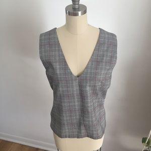 Chic plaid vest shirt